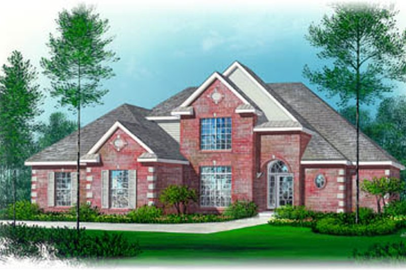 European Style House Plan - 3 Beds 2.5 Baths 2209 Sq/Ft Plan #15-235 Exterior - Front Elevation