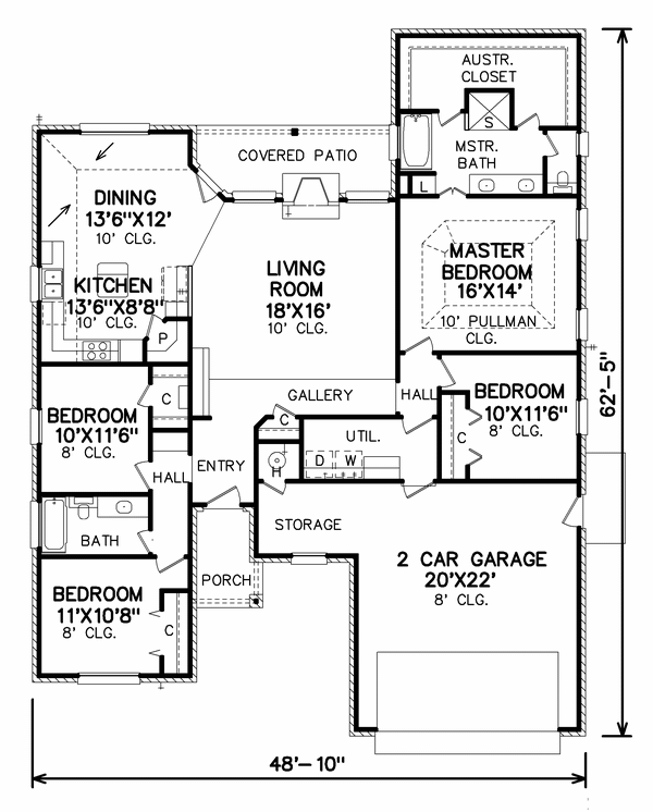 Traditional Floor Plan - Main Floor Plan Plan #65-403