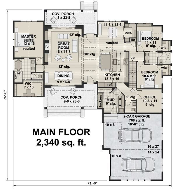 Farmhouse Floor Plan - Main Floor Plan #51-1138
