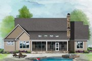 Ranch Style House Plan - 3 Beds 2 Baths 1853 Sq/Ft Plan #929-1089 Exterior - Rear Elevation