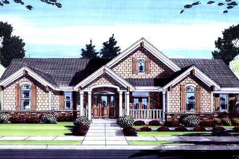 Bungalow Exterior - Front Elevation Plan #46-420