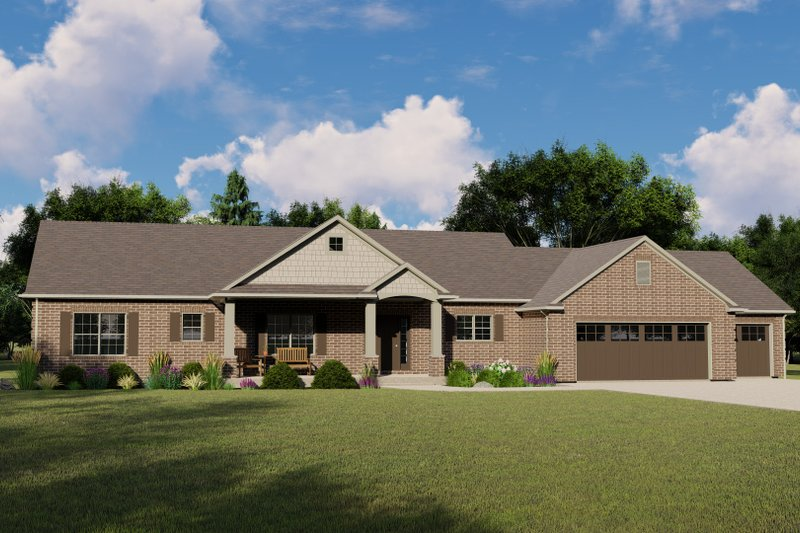 Dream House Plan - Craftsman Exterior - Front Elevation Plan #1064-131