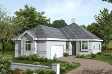Home Plan Design - Mediterranean Exterior - Front Elevation Plan #57-216
