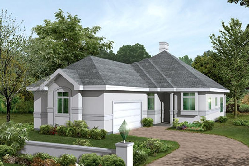 Mediterranean Exterior - Front Elevation Plan #57-216