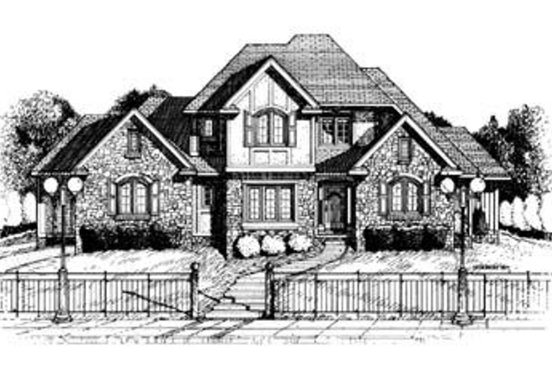 European Exterior - Front Elevation Plan #20-1038
