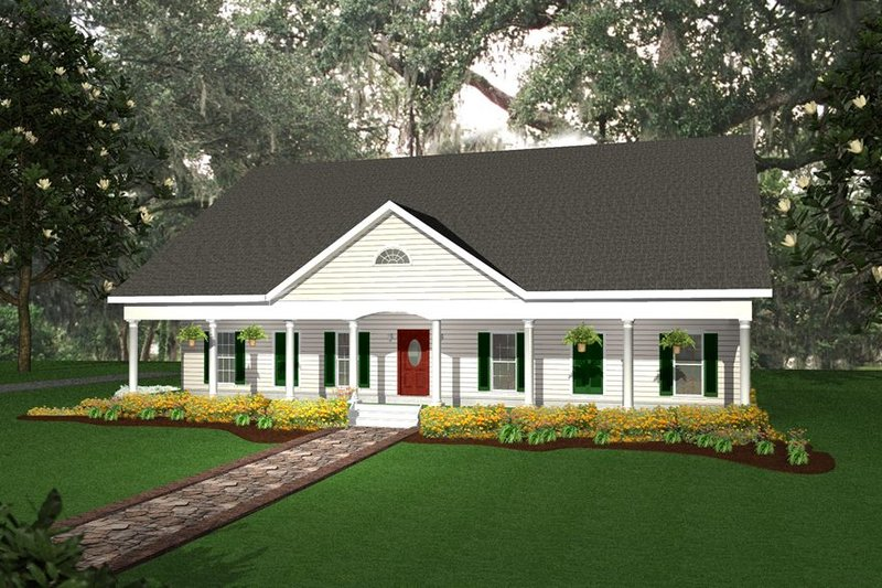 Southern Style House Plan - 4 Beds 3 Baths 2188 Sq/Ft Plan #44-107 Exterior - Front Elevation