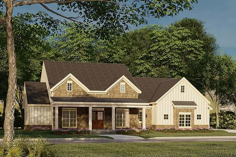 Dream House Plan - Farmhouse Exterior - Front Elevation Plan #923-183
