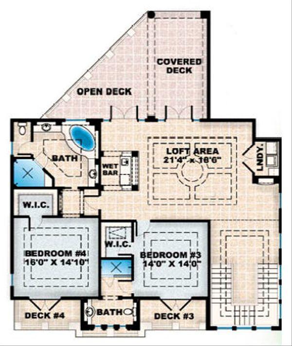 European Floor Plan - Upper Floor Plan Plan #27-363
