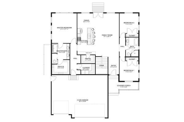 House Design - Ranch Floor Plan - Main Floor Plan #1060-101