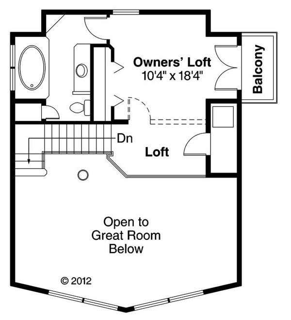 Cabin Floor Plan - Upper Floor Plan #124-510