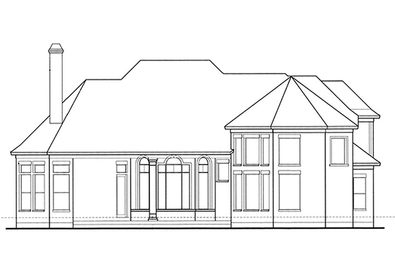 European Exterior - Rear Elevation Plan #20-2043 - Houseplans.com