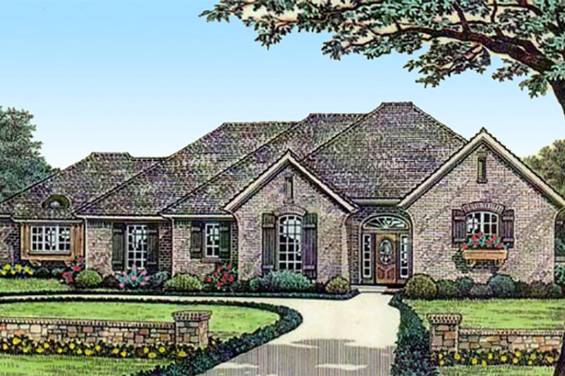 European Style House Plan - 2 Beds 2 Baths 1781 Sq/Ft Plan #310-296 Exterior - Front Elevation