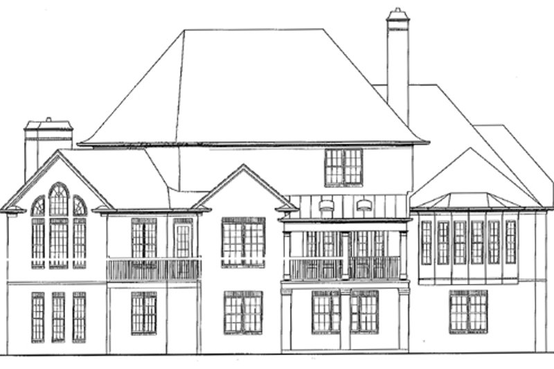 European Exterior - Rear Elevation Plan #54-163 - Houseplans.com