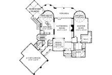 European style house plan, main level floor plan