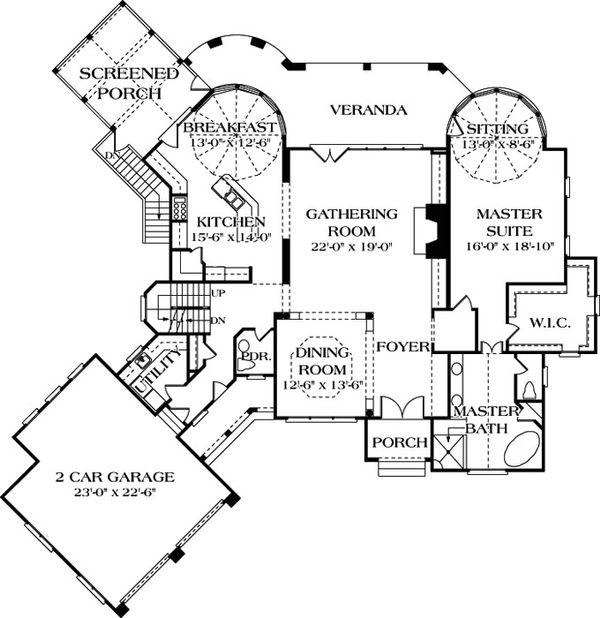 Dream House Plan - European style house plan, main level floor plan
