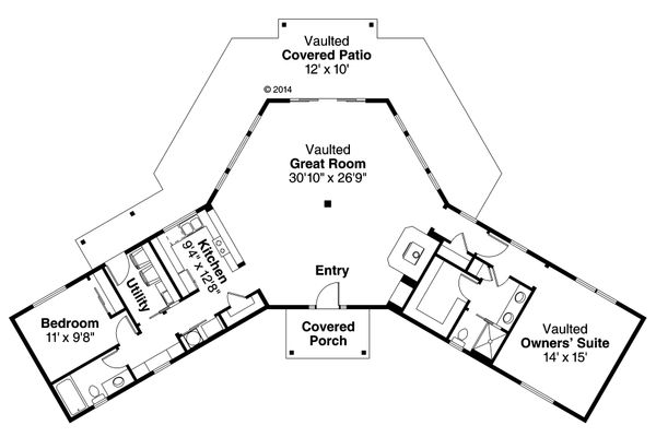 House Plan Design - Ranch Floor Plan - Main Floor Plan #124-980
