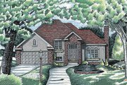 European Style House Plan - 3 Beds 2.5 Baths 1772 Sq/Ft Plan #20-2023 Exterior - Front Elevation
