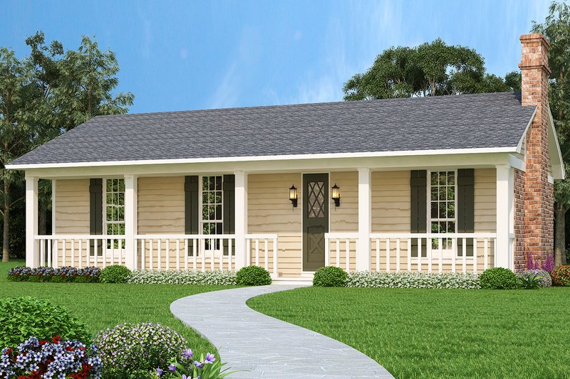 House Plan Design - Country Exterior - Front Elevation Plan #45-429