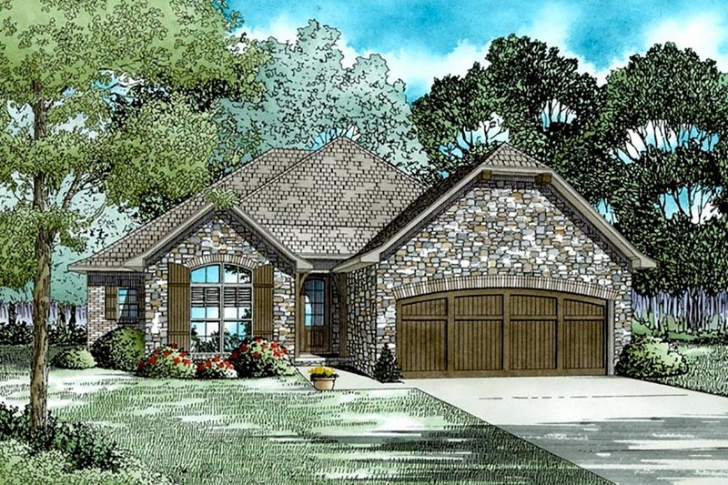 European Style House Plan - 4 Beds 2 Baths 1975 Sq/Ft Plan #17-2540 Exterior - Front Elevation