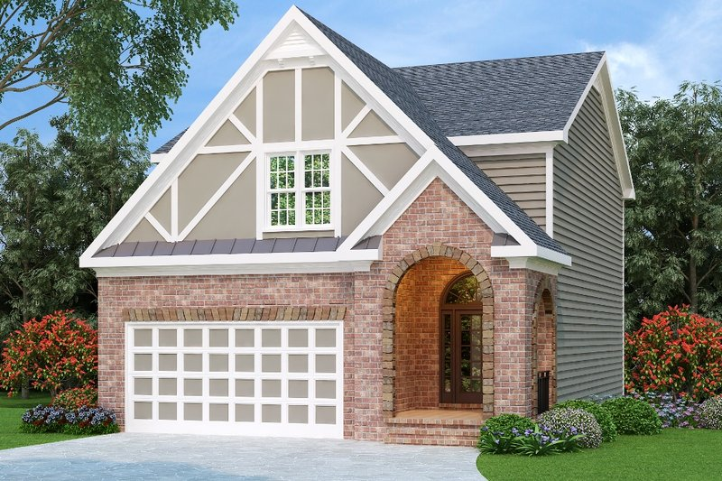 Tudor Style House Plan - 3 Beds 2.5 Baths 1966 Sq/Ft Plan #419-196 Exterior - Front Elevation