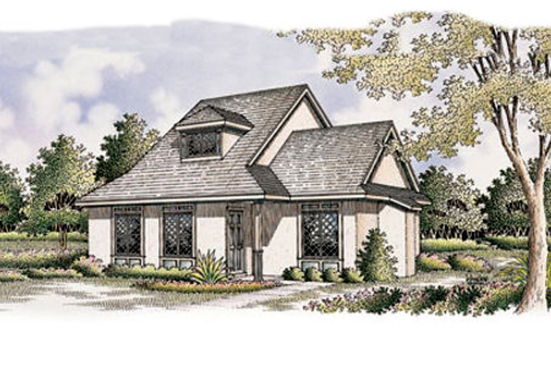 European Exterior - Front Elevation Plan #45-104