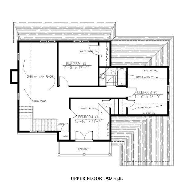 Cottage Floor Plan - Upper Floor Plan Plan #138-341