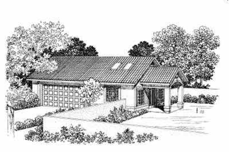 House Blueprint - Mediterranean Exterior - Front Elevation Plan #72-269