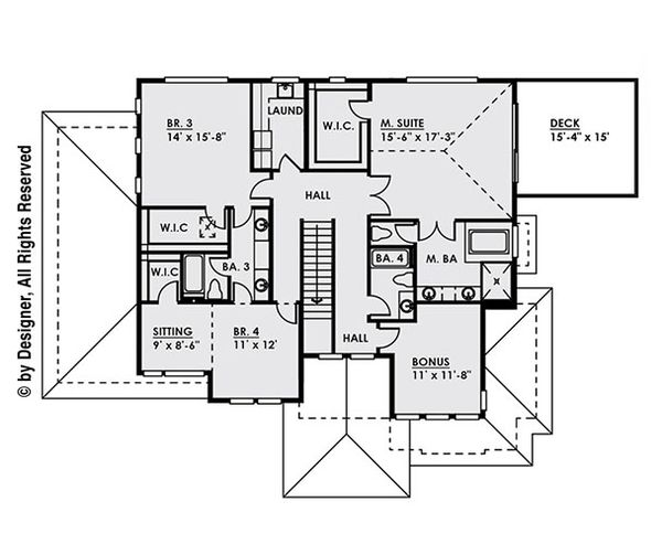 Modern Floor Plan - Upper Floor Plan Plan #1066-11
