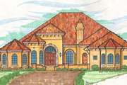 European Style House Plan - 3 Beds 3.5 Baths 4398 Sq/Ft Plan #135-134 Exterior - Front Elevation