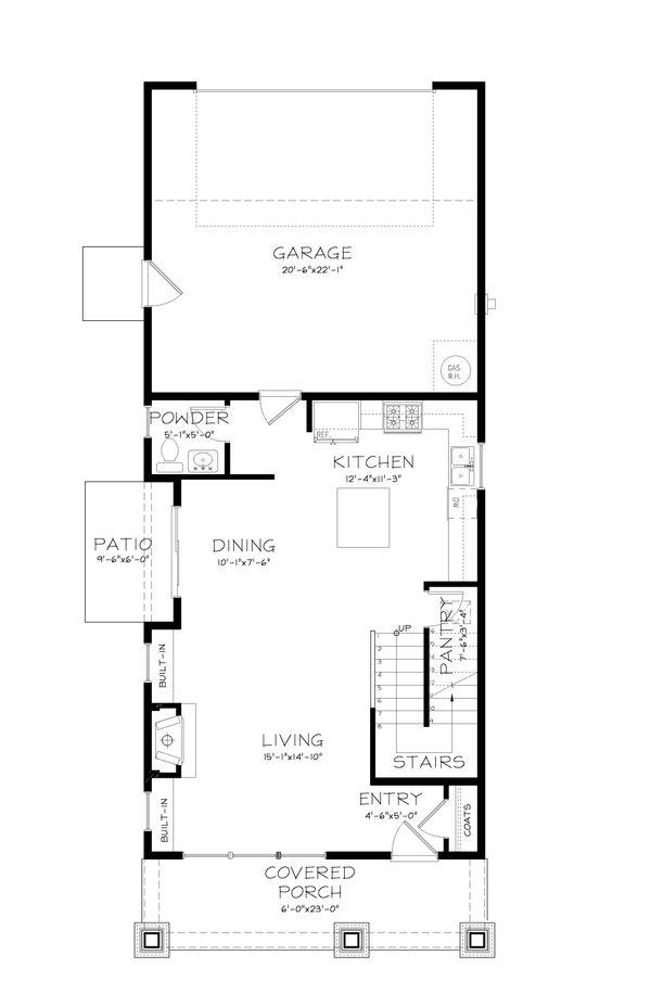 Craftsman Style House Plan - 3 Beds 2.5 Baths 1693 Sq/Ft Plan #895-6 Floor Plan - Main Floor Plan
