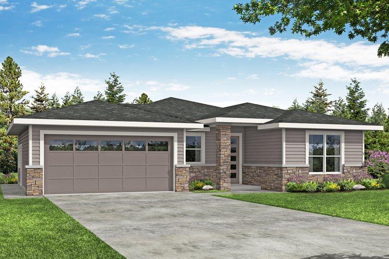 Architectural House Design - Prairie Exterior - Front Elevation Plan #124-1192