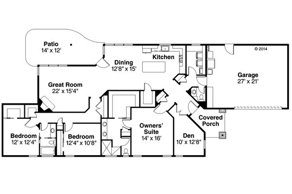 Ranch Floor Plan - Main Floor Plan Plan #124-976
