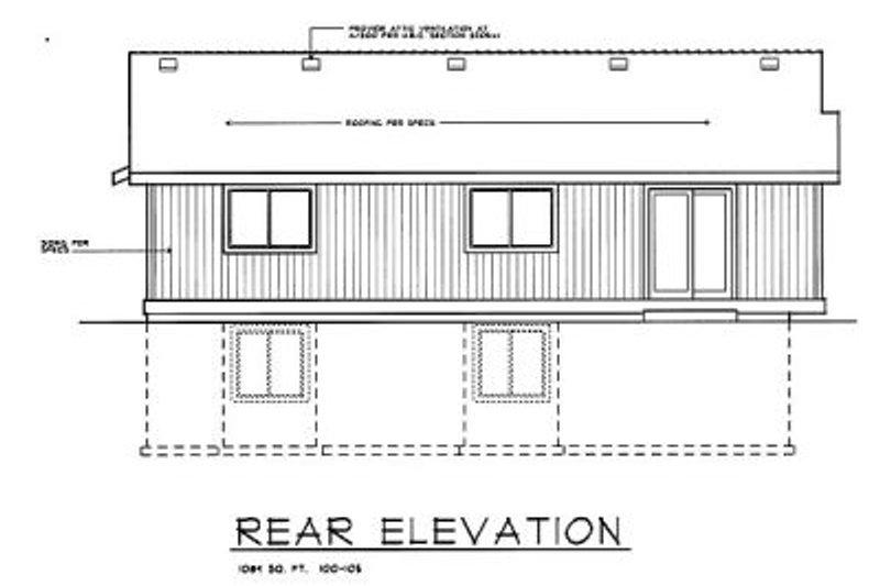 Traditional Exterior - Rear Elevation Plan #100-105 - Houseplans.com