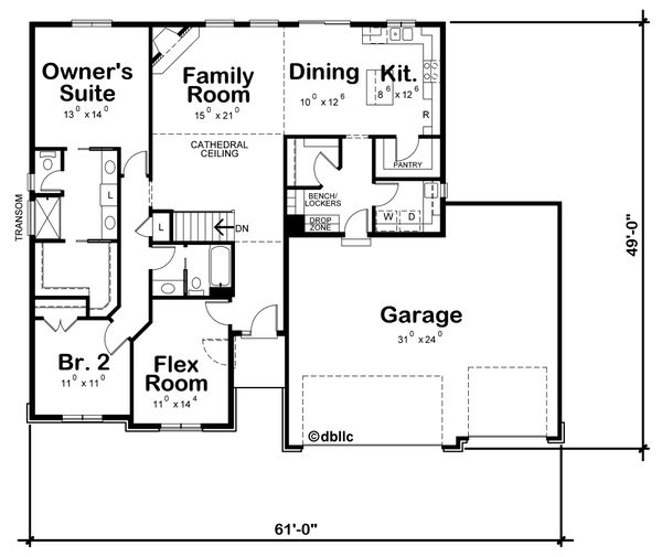 House Plan Design - Ranch Floor Plan - Main Floor Plan #20-2295