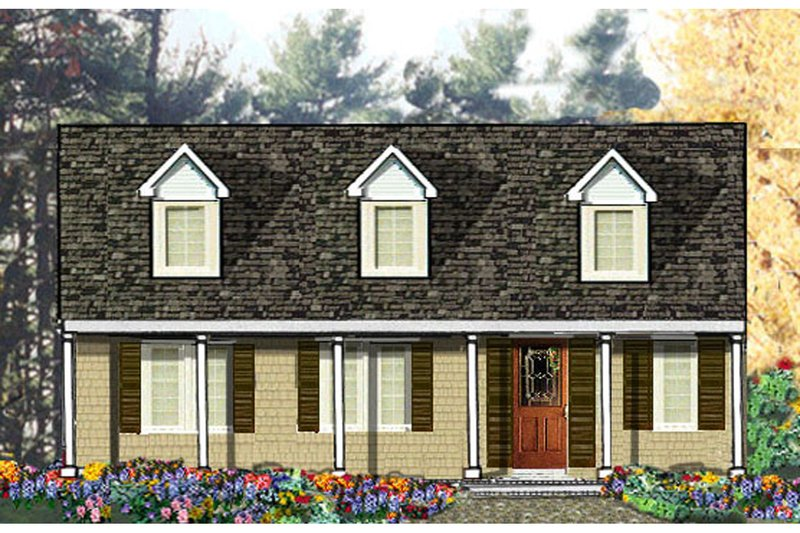 Country Style House Plan - 3 Beds 2 Baths 1500 Sq/Ft Plan #3-120 Exterior - Front Elevation