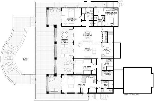 House Plan Design - Adobe / Southwestern Floor Plan - Lower Floor Plan #928-339