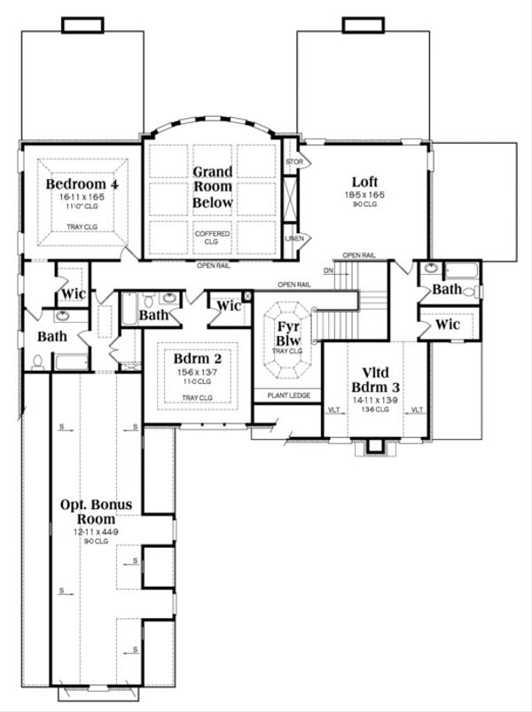 European Floor Plan - Upper Floor Plan Plan #419-242
