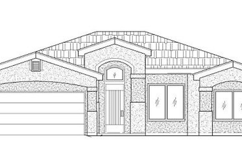 Adobe / Southwestern Style House Plan - 3 Beds 2 Baths 1543 Sq/Ft Plan #24-291 Exterior - Front Elevation