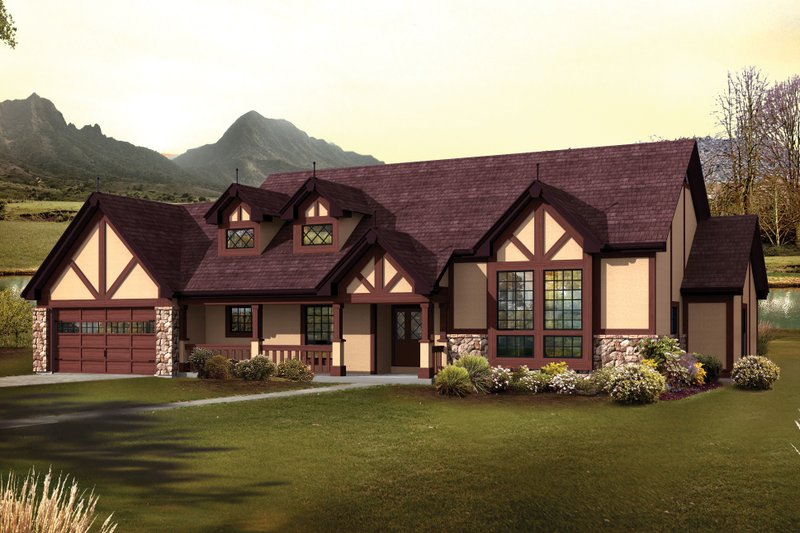 European Style House Plan - 3 Beds 3 Baths 2541 Sq/Ft Plan #57-594 Exterior - Front Elevation