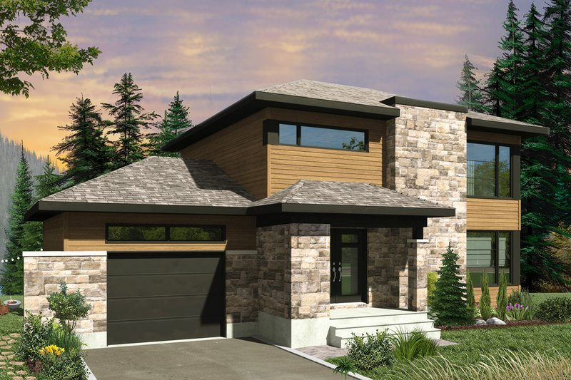 Home Plan - Contemporary Exterior - Front Elevation Plan #23-2644