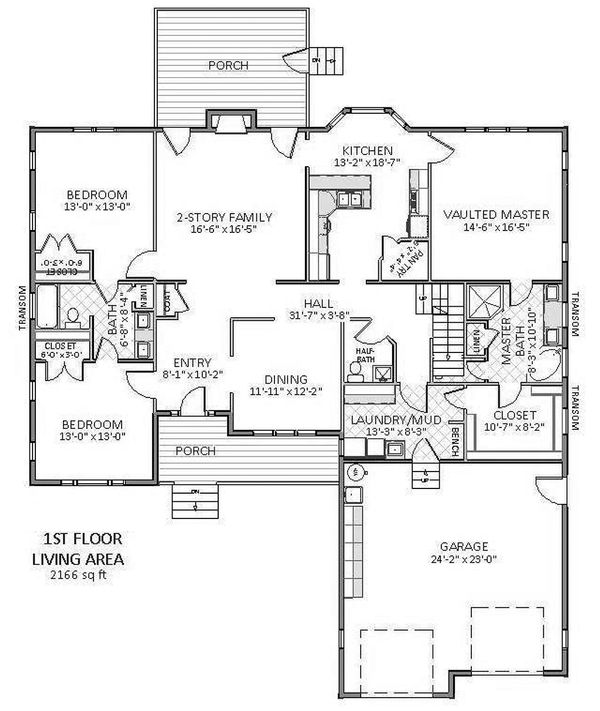 Main level floor plan - 3100 square foot Traditional home