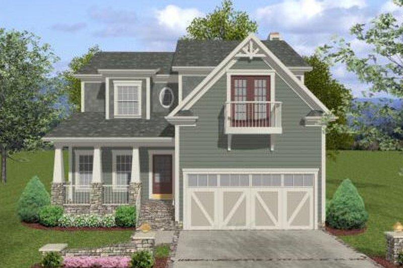 Architectural House Design - Craftsman Exterior - Front Elevation Plan #56-554