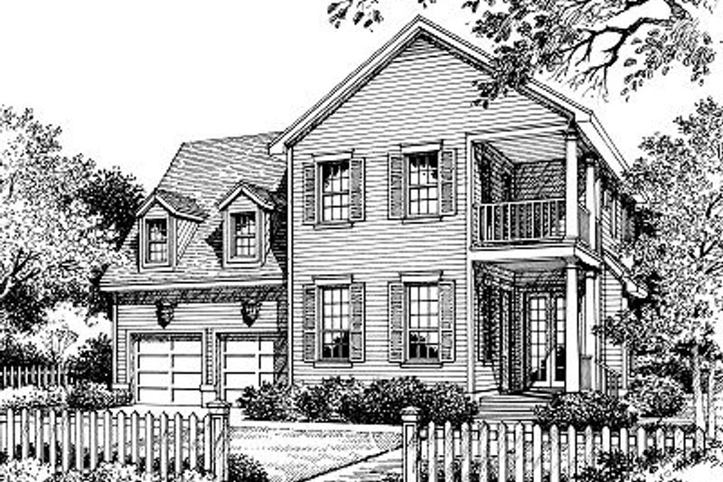 Traditional Style House Plan - 3 Beds 2.5 Baths 2468 Sq/Ft Plan #417-271 Exterior - Front Elevation
