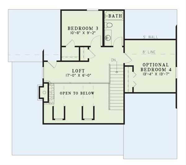 Country Floor Plan - Upper Floor Plan Plan #17-2017