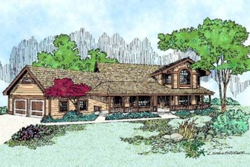 Country Style House Plan - 3 Beds 3 Baths 3000 Sq/Ft Plan #60-401 Exterior - Front Elevation