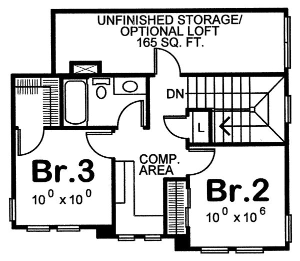 Craftsman Floor Plan - Upper Floor Plan Plan #20-2236