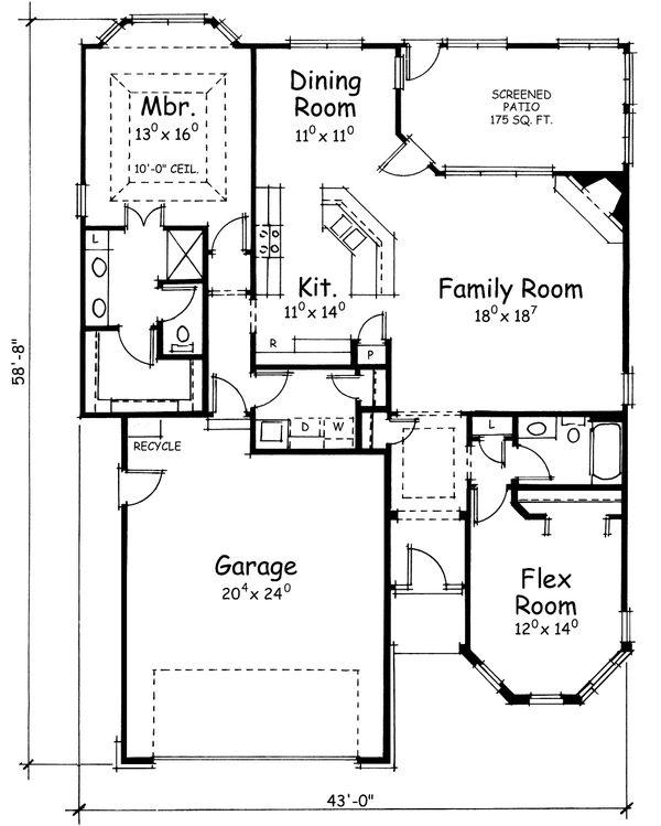 House Plan Design - European Floor Plan - Main Floor Plan #20-1602