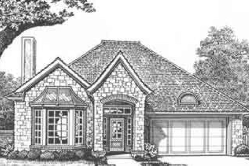 European Style House Plan - 3 Beds 2 Baths 1442 Sq/Ft Plan #310-427 Exterior - Front Elevation