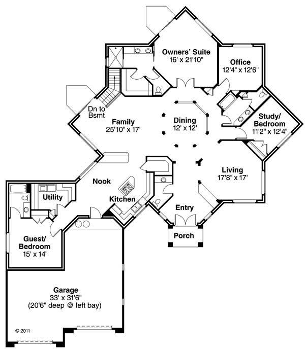 Ranch Floor Plan - Main Floor Plan #124-864