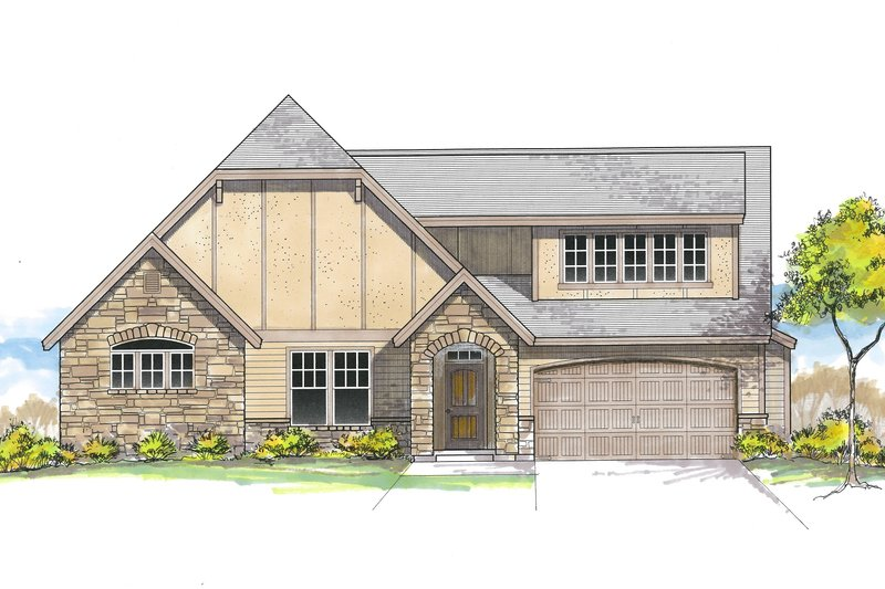 European Style House Plan - 3 Beds 3 Baths 1376 Sq/Ft Plan #53-622 Exterior - Front Elevation